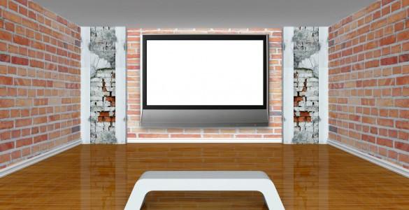 Fladskærm på vægbeslag